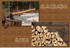 Zarampagalegando: Parellas imposibles. Acha / Machado Firewood, Texture, Crafts, Surface Finish, Woodburning, Manualidades, Handmade Crafts, Diy Crafts, Craft