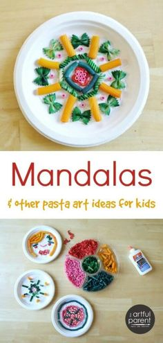 Art therapy activities mandala Fun pasta art activities for kids (sculptures, clay, mandalas) plus instructions for coloring your own pasta shapes to use in kids crafts. Diwali Activities, Multicultural Activities, Art Activities For Kids, Preschool Crafts, Therapy Activities, Colour Activities, Kids Crafts, Arts And Crafts Projects, Projects For Kids