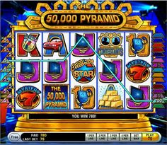 The 50,000 Pyramid - There are a lot of ways to win on this 5 reel 15 payline video bonus slot from IGT. Five logo symbols on an active payline while betting all five coins awards a 50,000 coin line win. The game logo is also the wild symbol and substitutes for any except the Winner's Circle symbol.
