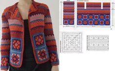 Crochet Coat, Crochet Baby Shoes, Crochet Jacket, Crochet Cardigan, Filet Crochet, Crochet Clothes, Crochet Designs, Crochet Patterns, Granny Square Sweater