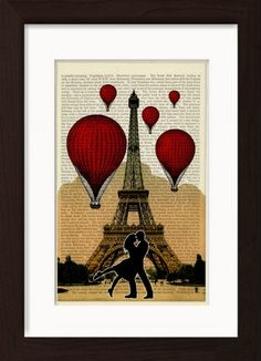Paris The Kiss Red Balloons Over The Eiffel Tower Ready To Frame Mounted /Matted Dictionary Art Print - deal for men Red Butterfly, Butterfly Print, Dictionary Art, French Dictionary, Printed Balloons, Irish Art, Red Balloon, Free Prints, Antique Books