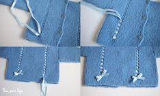 Patrón para tejer un jersey sencillo de bebé a dos agujas| Pim, pam, teje Knitting For Kids, Knitting Projects, Baby Knitting, Denim Button Up, Button Up Shirts, Knit Crochet, Crochet Afghans, Cross Stitch, Amelia