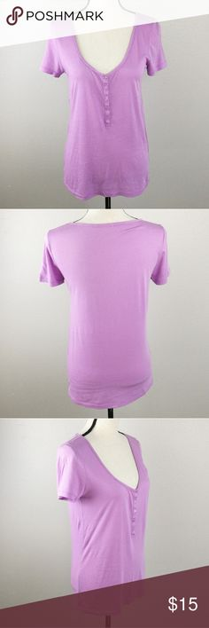"J. Crew Lilac Purple Short Sleeve Henley Tee Shirt Semi Sheer, Scoop Neck, Short Sleeves.  Light Purple.  Size Small  Flat lay measurements: 26"" Length 17"" Left to right Underarm  60% Pima Cotton, 40% Modal  Style 26313 J. Crew Tops Tees - Short Sleeve"