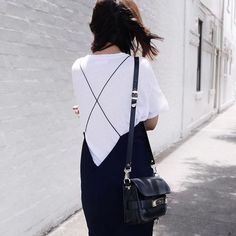 strapped black dress + white tee: