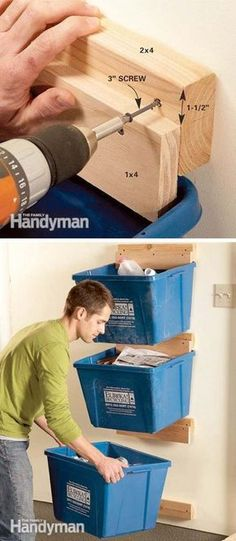 Free up your tight floor space by installing recycling bin hangers on the wall made with a few pieces of scrap wood.
