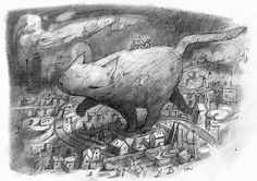Shaun Tan - Things we can only talk about on the back of a giant cat as it strides across a sleeping suburb