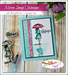 Mirror Image Technique with Beautiful You from Stampin Up card by Sandi @ stampinwithsandi.com