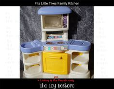 New Replacement Decals Stickers fits Little Tikes Family Kitchen Pastel Style Childrens Kitchens, Kitchen Decals, Little Tykes, Family Kitchen, Old Toys, Cleaning Wipes, Restoration, Stickers, The Originals