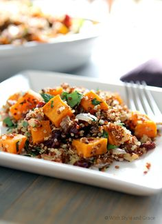 Sweet potato and dried cranberry quinoa. ***So the hubs and kids ate all my cranberries so I changed it up a bit, more garlic, a little hungarian paprika, and bacon pieces roasted with the potatoes (everything else the same). It was delicious. Also cooked the quinoa in seasoned chicken broth instead of water  KL***