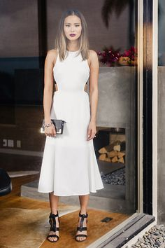 bf2dc8c6d388a5 dress midi dress white dress white sandals cut-out summer dress summer  outfits jamie chung shoes