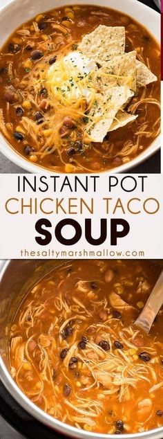 Instant Pot Chicken Taco Soup is a delicious Instant Pot soup. Instant Pot Chicken Taco Soup is a delicious Instant Pot soup recipe thats flavorful healthy and easy. Full of chicken corn black beans and salsa! Crock Pot Recipes, Cooking Recipes, Healthy Recipes, Instapot Soup Recipes, Instapot Chicken Soup, Cheap Recipes, Quick Soup Recipes, Recipes Dinner, Easy Healthy Soup Recipes