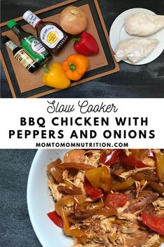 Made with pantry staples and store-bought sauces, Slow Cooker BBQ Chicken with Peppers and Onions is one weeknight dinner you can't pass up. Yummy Chicken Recipes, Healthy Crockpot Recipes, Slow Cooker Recipes, New Recipes For Dinner, Healthy Dinner Recipes, Weeknight Dinners, Easy Dinners, Slow Cooker Bbq, Chicken Stuffed Peppers