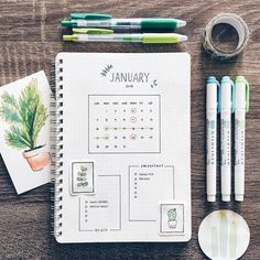 Bullet journal monthly calendar, plant drawing, monthly goal tracker. | @nohnoh.studies