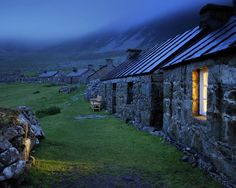 The high street in the village, Hirta island, St Kilda archipelago, Scotland