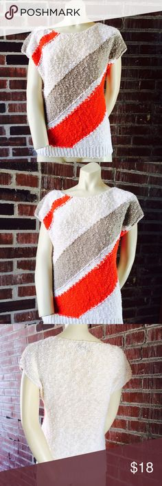 "Vintage Joyce Sweater Classic nubby sweater in cream, red and sandy colorblock. It has a scoop neckline with cap sleeve. Ramie/Cotton material. Size M. Bust 40"" Length 22"". Good vintage condition. No flaws. Vintage Sweaters Crew & Scoop Necks"