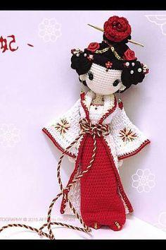 Amigurumi Geisha ❥ 4U hilariafina http://www.pinterest.com/hilariafina/:
