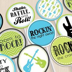 Love this! rock child bathe decorations | Rock-n-roll-themed child bathe | Child Bathe Concept...