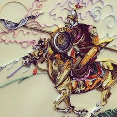 """Very talented young artist from Kazakhstan @tanatova_aselya on Instagram photos Georgeous Work - """"A Warior in The Field"""" Quilling"""