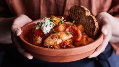 Salty Foods, Bird Food, Tandoori Chicken, Baked Potato, Berries, Stuffed Mushrooms, Beef, Dinner, Vegetables