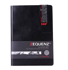 """Zequenz Classic 360 Soft Bound Journal Writing Notebook Large 5.75"""" x 8.25"""" Black 200 sheets / 400 pages Ruled premium paper"""