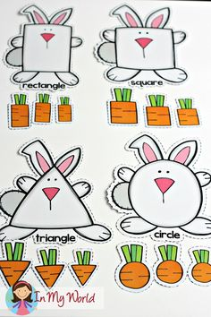 Spring Preschool Centers. Match the carrot shapes to the correct bunny.