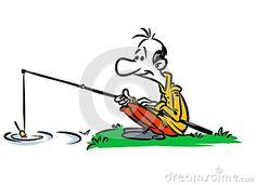 Fisherman river fishing rod cartoon illustration
