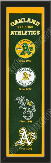 This Oakland Athletics heritage banner framed to 8 x 32 inches.  $89.99  @ ArtandMore.com