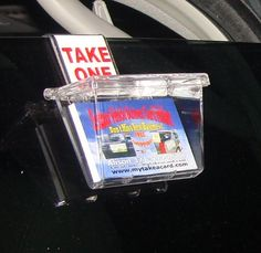 Outdoor Business Card Holder CLEAR LID - with Vehicle Window Hook our Most Popular! - From: Clear Lake Enterprises