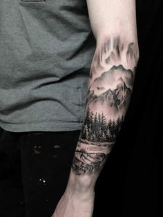 Norwegian landscape, tattoo by Bjarke Andersen at Sinners Inc, Denmark