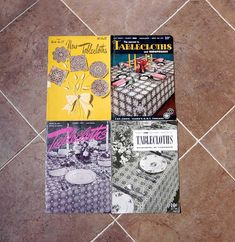 Crochet Tablecloth Patterns Books, 4 Vintage Leaflets, Tablecloths, Bedspreads, Placemats, Luncheon Sets, Thread Crochet Designs, 1940s-50s by NutmegCottage on Etsy