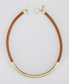 Leather and Metal Necklace. Ann Taylor.