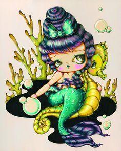 Purple Beehive - Retro Mermaid Pinup Girl