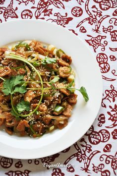 http://veganann.com/soy-protein-stir-fry-with-leek-and-onion/