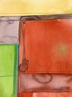 "Abstract orange, mustard, lime, Watercolor Painting, Serene, Peaceful, Tranquil, Original art ""Sacred Balance 5"" Kathy Morton Stanion EBSQ"