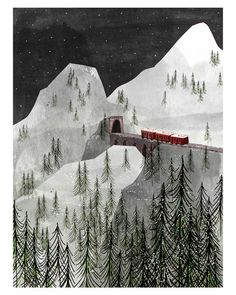Josie Portillo is a young American illustrator who seems that adores to travel, and fortunately has the talent to share this love with the rest of the world. Art And Illustration, Illustrations Posters, Mountain Illustration, Fotografia Pb, Zermatt, Alphonse Mucha, You Draw, Grafik Design, Illustrators