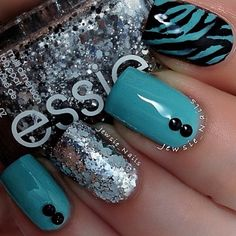 Teal Black Zebra Nails - So cool.  #nails #nailart