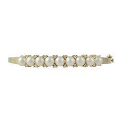 Vintage 14K Gold Cultured Pearl and Diamond Bangle Bracelet, c. 1960s. $1250