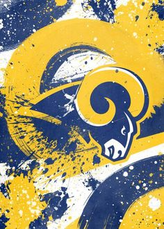 NFL Team Emblem: Los Angeles Rams artwork by artist Cody Johnson, part of a set featuring designs based on team emblems from the NFL National Football League. Football Usa, Football Design, Football Players, Football Helmets, Cody Johnson, Ram Wallpaper, St Louis Rams, La Rams, Nfl Logo