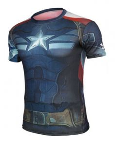 Captain America Compression Shirt - Rebel Style Shop - Get this compression shirt, and channel your inner superhero. You may not have Captain America's toned body yet, but this shirt is designed to flatter medium to large frames. Captain America Merchandise, Outfits Fo, Rebel Fashion, Super Hero Outfits, Running Women, Woman Running, Sport T Shirt, Motorcycle Jacket, Tees