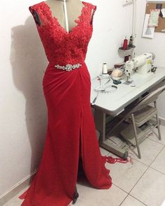 Red V Neck Sheath Evening Gown, Prom Dress With Centre Slit , Lace Top