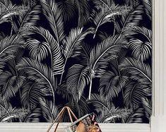Tropical palm leaf wallpaper Exotic leaves Palm leaf print