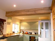 Oak Frame Yorkshire - Oak By Design are dedicated to creating a customer experience and exceeding your expectations. Specialists in Oak Framed Buildings Oak Framed Buildings, 1930s House, Rustic Charm, Open Plan, Home Kitchens, Beams, Kitchen Cabinets, New Homes, Ceiling Lights