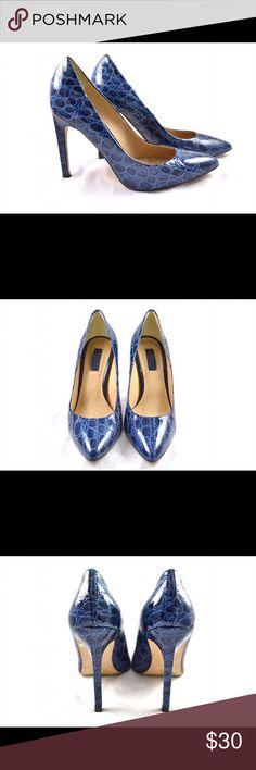 Topshop Blue Crocodile Pumps 4 inch high blue shiny faux crocodile pumps by Topshop. Worn once for a wedding. Topshop Shoes Heels