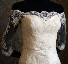 Off-Shoulder Italian Lace Bridal Bolero Jacket by IHeartBride Adelaide Elysia