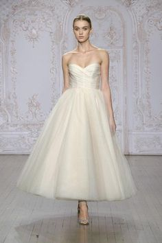 Monique Lhuillier Ready to Wed strapless tea-length wedding dress