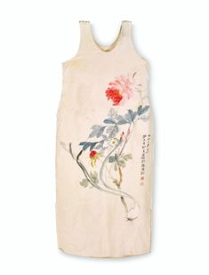 Zhang Daqian (1899-1983), Pivoines, 1952. Ink and colour on silk dress. Signed by the artist with two seals dated third month of renchen year (1952). Height:110 cm, width 49 cm (43⅜ x 19⅜ in). Mandarin Dress, Most Popular Artists, Small White Flowers, Flower Quotes, Chinese Culture, White Silk, Silk Painting, Silk Dress, Floral Design
