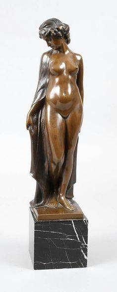 """Art Nouveau Bronze, """"After the Bath"""", circa 1900."""