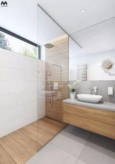 Bathroom Design Tile Walk In Shower Window 65 Super Ideas Master Bathroom Shower, Wood Bathroom, Natural Bathroom, Bathroom Showers, Ensuite Bathrooms, Light Bathroom, White Bathroom, Bathroom Mirror Wall, Grey Floor Tiles Bathroom
