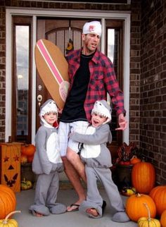 Halloween sharks and surfer