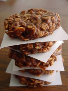 Ingredients:  1/2 cup butter (1 stick)  2 cups sugar  1/2 cup milk  4 tablespoons cocoa  1 cup creamy peanut butter  3 cups instant oats  2 teaspoons pure vanilla extract    Instructions:  In a medium sauce pan, add butter, sugar, milk and cocoa. Place on medium